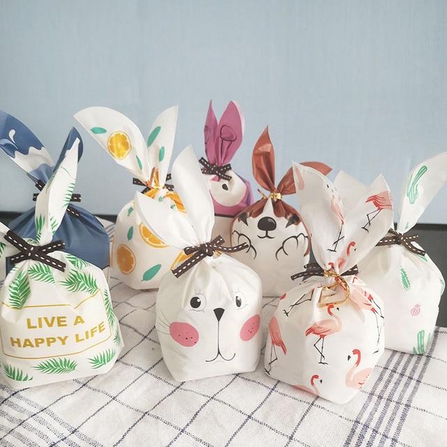 أرنب طويل الأذن للحلويات لطيف الأرنب حفل الزفاف أكياس جيدة التعبئة كعكة Bonbonniere هدية حقيبة التعبئة والتغليف الحلوى كوكي الحاضر