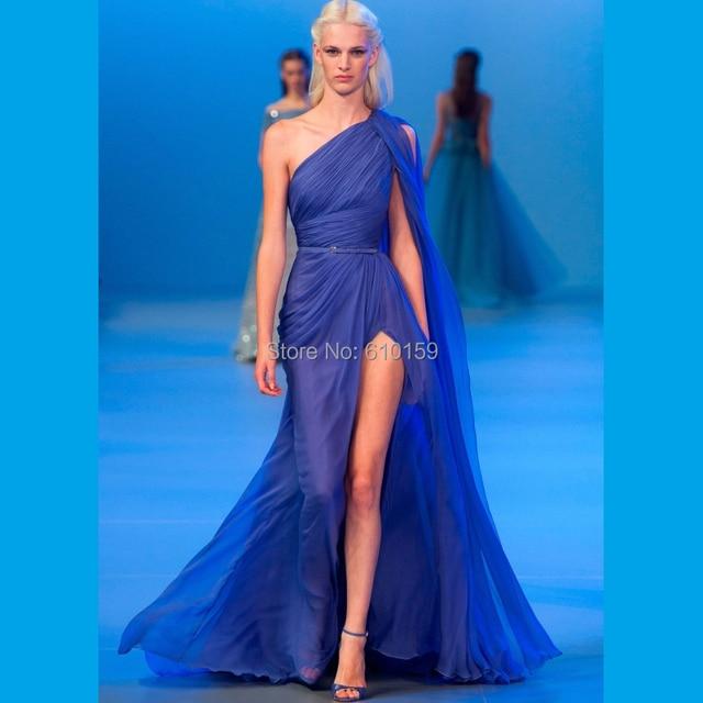 2015 elegant elie saab evening dresses high slit chiffon long one ...