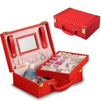 GLHGJP Fashion Woven Jewelry Box Leather Multi function Portable Jewelry Ornament Storage Case Ring Organizer Trinket Box