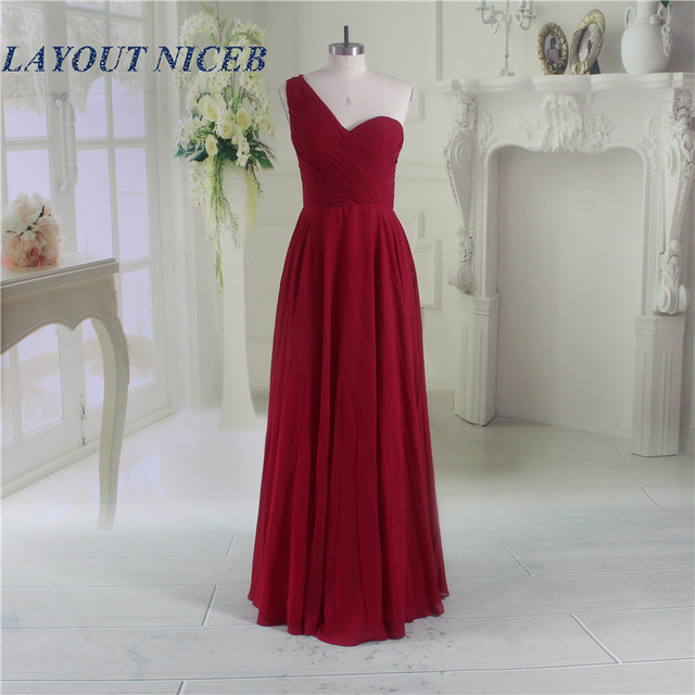 1893a109b0f 2017 ElegantL Chiffon Bridesmaid Dresses Long Dress New Party Prom Gowns  One Shoulder Burgundy Gown