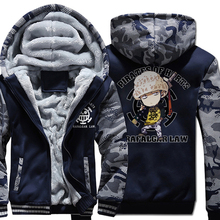 Hoodies coats one piece cartoon Hooded men fleece wool liner 2019 male tracksuit Camouflage color Thick Zipper Jacket sweatshirt