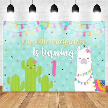 цена на Mexican Backdrop Alpaca Cactus First Birthday Party Photo Backdrops Colour Flag Banner Light Blue Photo Background for Pictures