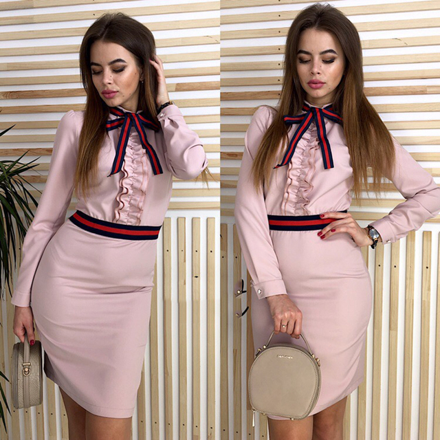 2019 new Women high quality ruffled dress autumn long sleeves elegant vintage dress sexy O-neck party gray pink dress vestidos