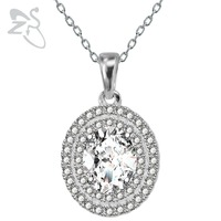 Elegant Oval 925 Sterling Silver Chain AAA Cubic Zirconia Crystal Choker Necklaces&Pendant Ellipse Collier Jewellery For Women