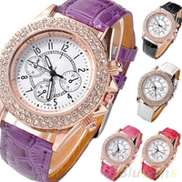 Hot Sales Women's Girl's Crystal Decorated Racing Style Analog Quartz PU Leather Wrist Watch