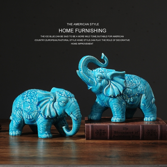 Ceramic Blue Elephant Statue Home Decor Crafts Room Decoration