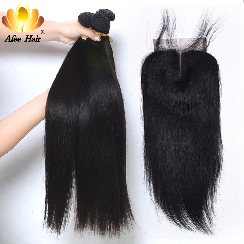 Aliafee Hair Malaysian Straight Hair 3 Bundles Deal Malaysian Hair Bundles With Closure 100% Human Hair Extension Non Remy
