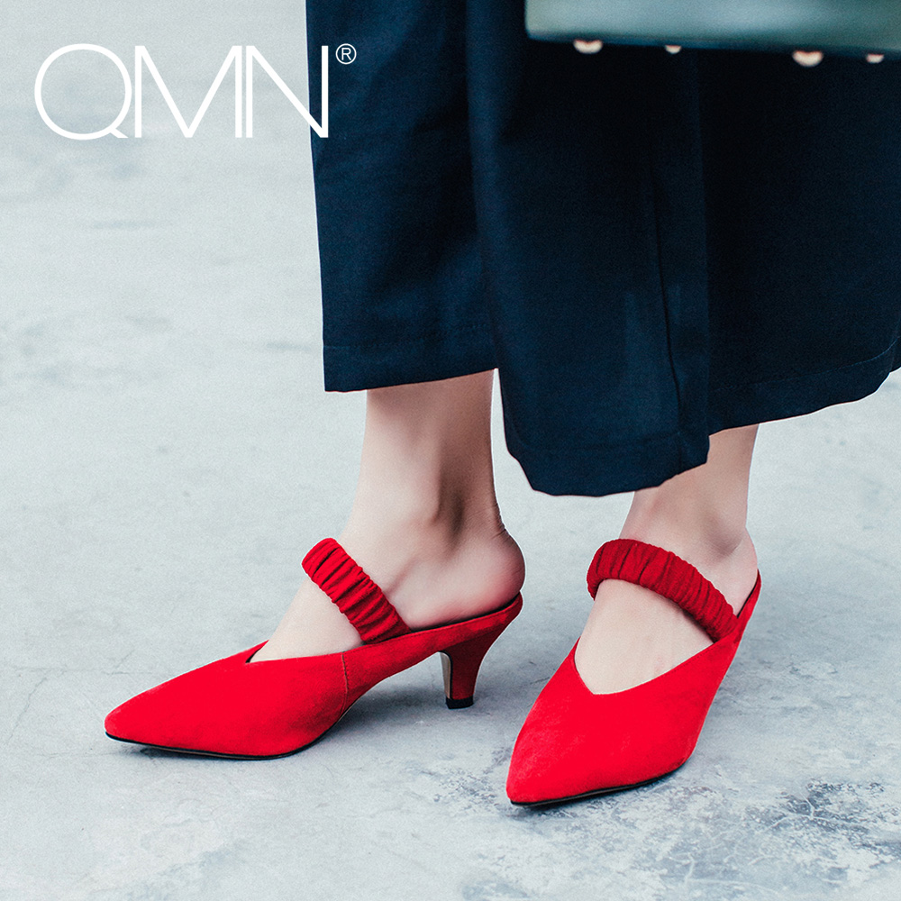 QMN women genuine leather slippers Women Natural Suede Pointed Toe Kitten Heels Mules Slip On Summer Leisure Shoes Woman Slides qmn women crystal embellished natural suede brogue shoes women square toe platform oxfords shoes woman genuine leather flats
