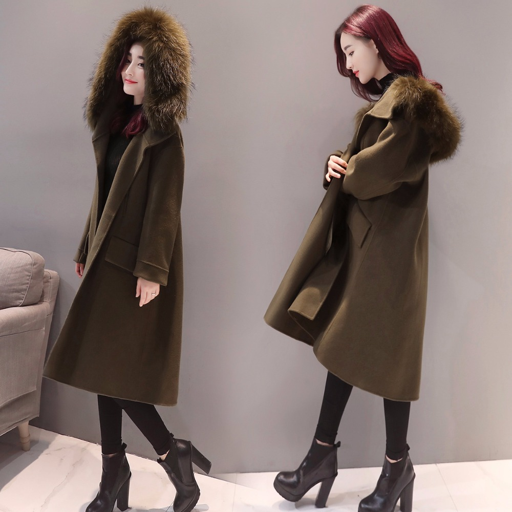 De armygreen Hiver Long coat Trench Lâche Femmes Super Gray 2019 Manches Longues Nouveau Trench Qualité Laine Manteau Chaud Mode À Moyen Supérieure wZuPOkTXi