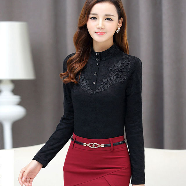 Autumn Elegant Lace Blouse Women Stand Ladies Tops Long Sleeve Button Shirt Fashion Korean Clothes Femme DD2252 2