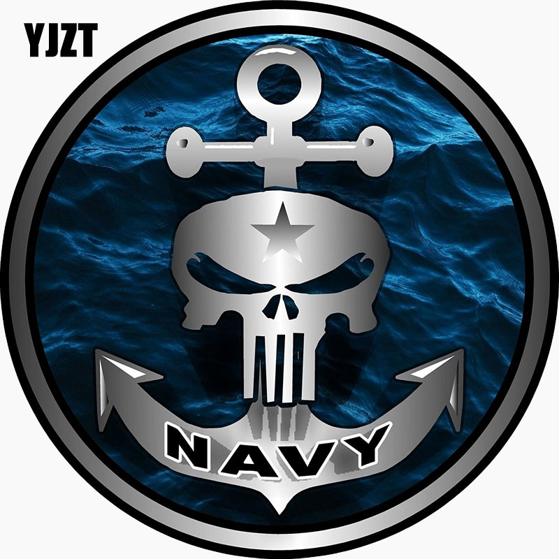 YJZT 10.2CM*10.2CM PUNISHER SKULL SHIPS ANCHOR Personality Reflective Car Sticker C1-7693