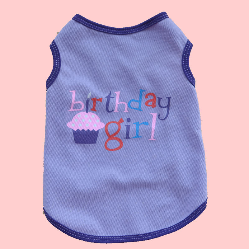 Happy Birthday Dog Shirt Small Cat Summer Clothes Yorkshire Terrier Pet Cotton T Puppy Vest Jersey Perro