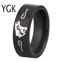 Free Shipping USA UK Canada Russia Brazil Hot Sales 8MM Black Pipe Outdoor Hunting Fishing New Men's Tungsten Comfort Fit Ring