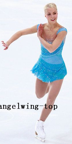 blue figure skating dresses for women expensive crystals ice skating dress custom size competition skating dress free shipping