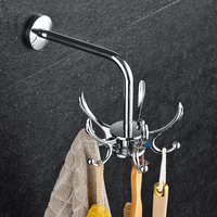 Chrome Finish Rotating Hook Hanging Stainless steel Chrome Robe Hooks Clothes Hook with 5 Hangers Bathroom Accessories Products