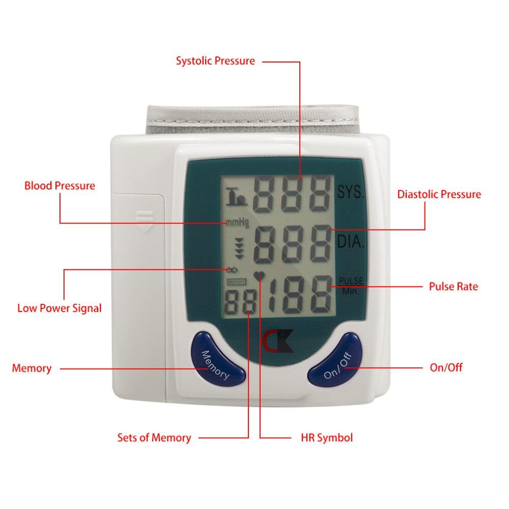 Цифровой ЖК-дисплей наручные манжеты рука Приборы для измерения артериального давления Здоровье Мониторы Heart Beat частоты пульса Мера метр З...