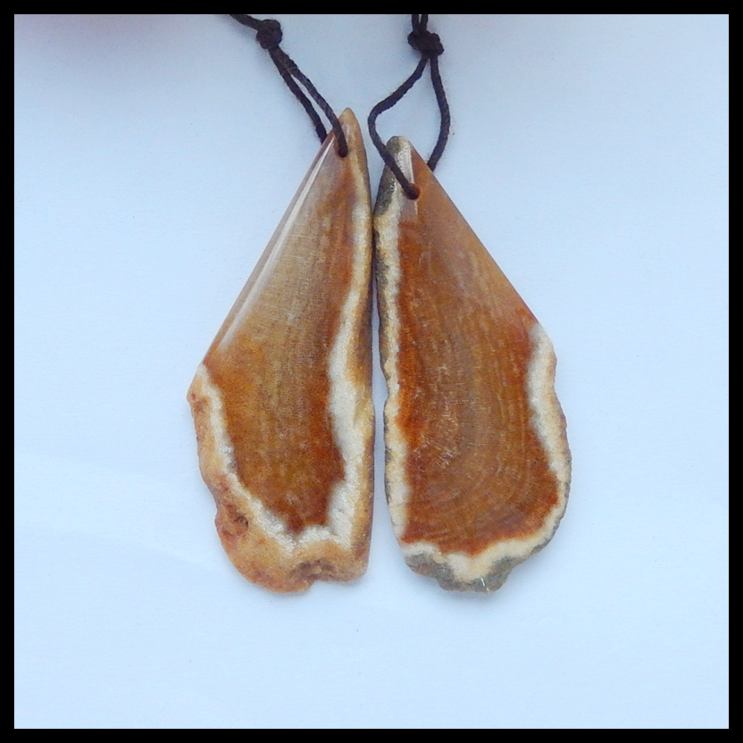 Natural Indonesian Fossil Coral fashion Semi-precious stones Jewelry accessories women Earring Bead57x22x6mm18.5g