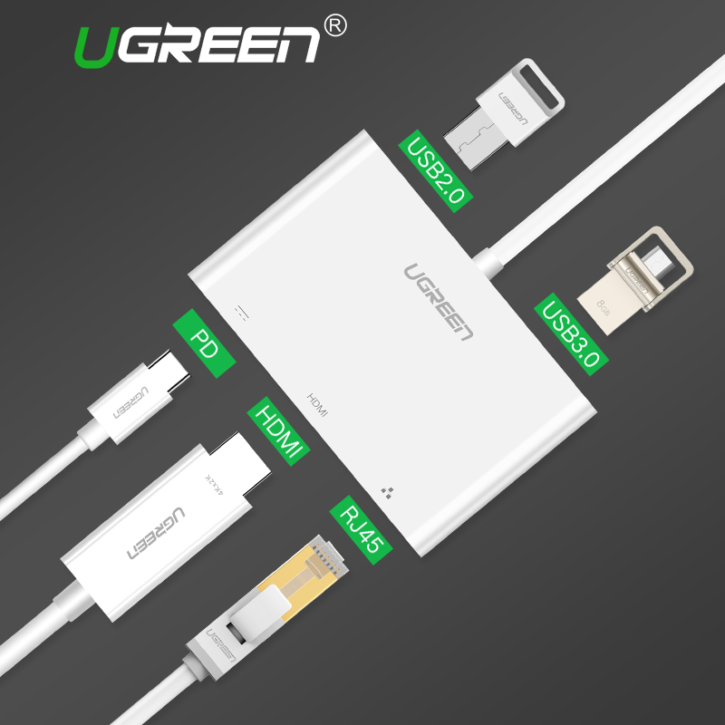 Ugreen USB C HUB Type-C to HUB HDMI VGA RJ45 Adapter with USB-C PD Port Splitter for MacBook Pro Huawei Mate 10 USB 3.0 HUB easya usb 3 0 hub 6 in 1 usb c hub to hdmi vga rj45 adapter usb type c hub with pd charging port for macbook pro