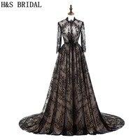 H & BRIDAL High Neck Black Lace Abendkleid Langarm Abendkleider Sheer Zurück A-linie Abendkleid Türkische Abendkleider