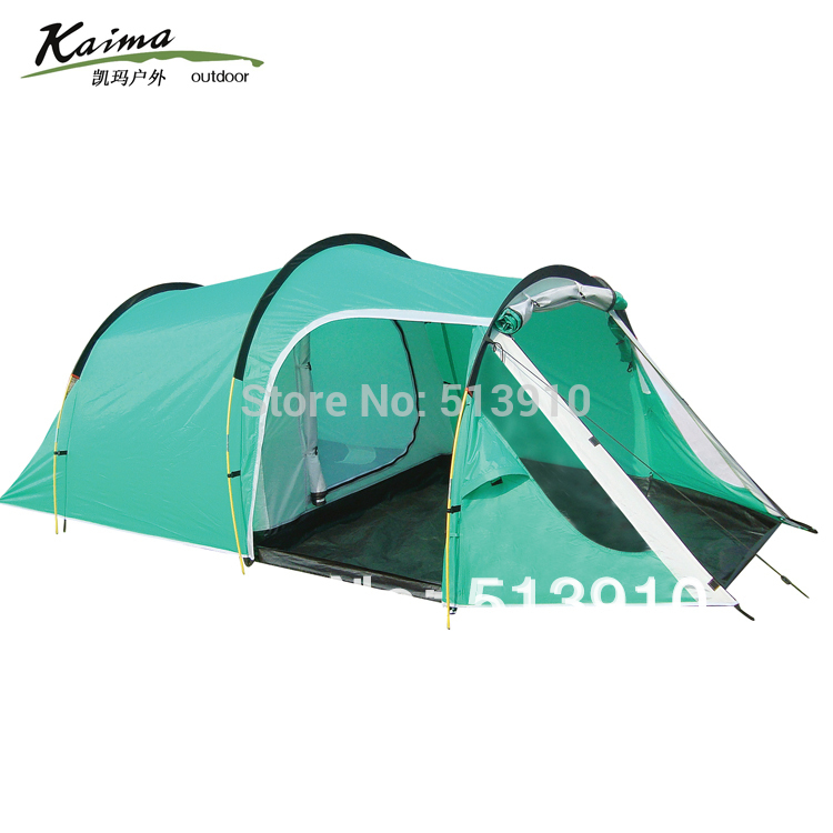 KAIMA 3-4persons one bedroom & one living room double layer family and party camping tent 2015 new style high quality double layer untralarge one hall one bedroom family party camping tent