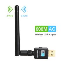 TEROW Adapter USB Wifi 5 8GHz + 2 4GHz odbiornik Wi-fi wysokiej prędkości 600 mb s bezprzewodowy dostęp do internetu anteny Wireless PC karta sieciowa 802 11ac tanie tanio 600Mbps CN (pochodzenie) Zewnętrzny ETHERNET Pulpit CCC FC ROHS 802 11a g 802 11n 2-3cm Usb2 0 2 4G i 5G 600 mbps XHT-5B10