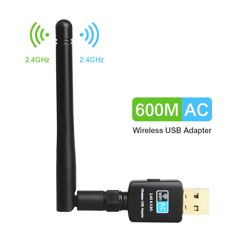 TEROW USB Wifi Adapter 5.8GHz+2.4GHz Wi-fi Receiver High Speed 600Mbps Wi-fi Antenna Wireless PC Network Card 802.11ac