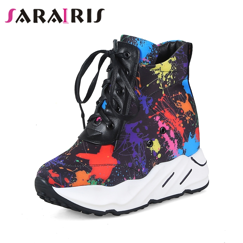 SARAIRIS 2019 new brand shoes woman fashion Camouflage genuine leather casual shoes winter leisure ankle boots