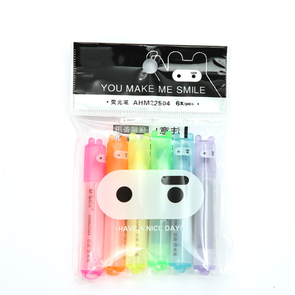 6PCS Set Rabbit Ninja Mini Highlighter Pen Marker Pens Kawaii Stationery Cartoon Escolar Papelaria Writing School Supplies in Highlighters from Office School Supplies