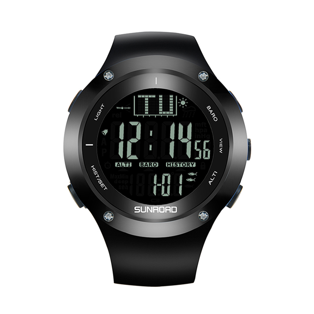 SUNROAD 5ATM Pedometers Waterproof Backlight Watch Altimeter Thermometer Stopwatch Fishing Barometer Outdoor Sports Watch outdoor multifunction digital fishing barometer waterproof fishing watch barometer altimeter thermometer sports watch 6 colors