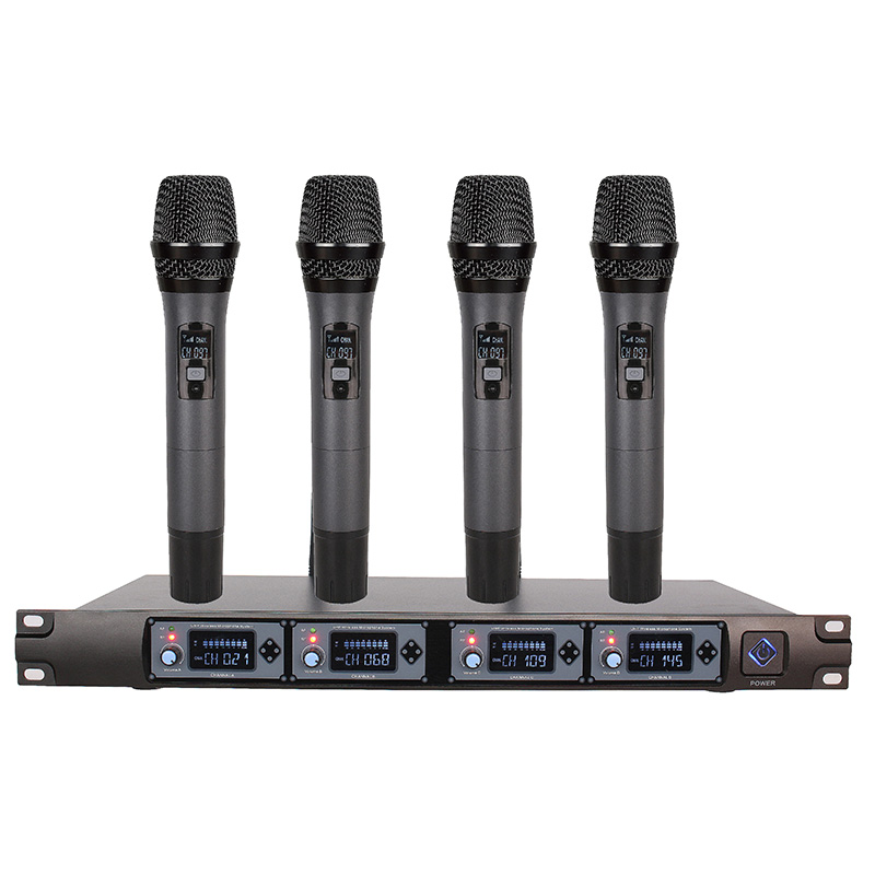 Wireless Microphone System U4000F Professional Microphone 4 Channel UHF Dynamic Professional 4 Handheld Microphone + Karaoke uhf wireless microphone system dual channel ir frequency body pack belt transmitter karoke ktv party uhf dynamic microphone