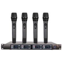 Wireless Microphone System U4000F Professional Microphone 4 Channel UHF Dynamic Professional 4 Handheld Microphone + Karaoke