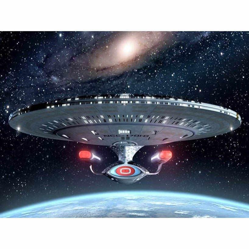5D DIY フル平方ダイヤモンド塗装クロスステッチスタートレック宇宙船アートステッカー 3D ダイヤモンドモザイク刺繍 FR817