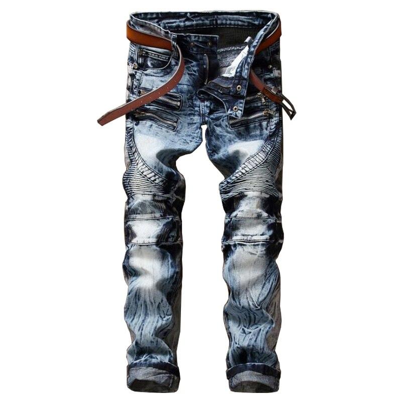 ABOORUN Mens Biker Jeans Motorcycle Jeans Nightclub Skinny Ripped Patchwork Jeans P6051
