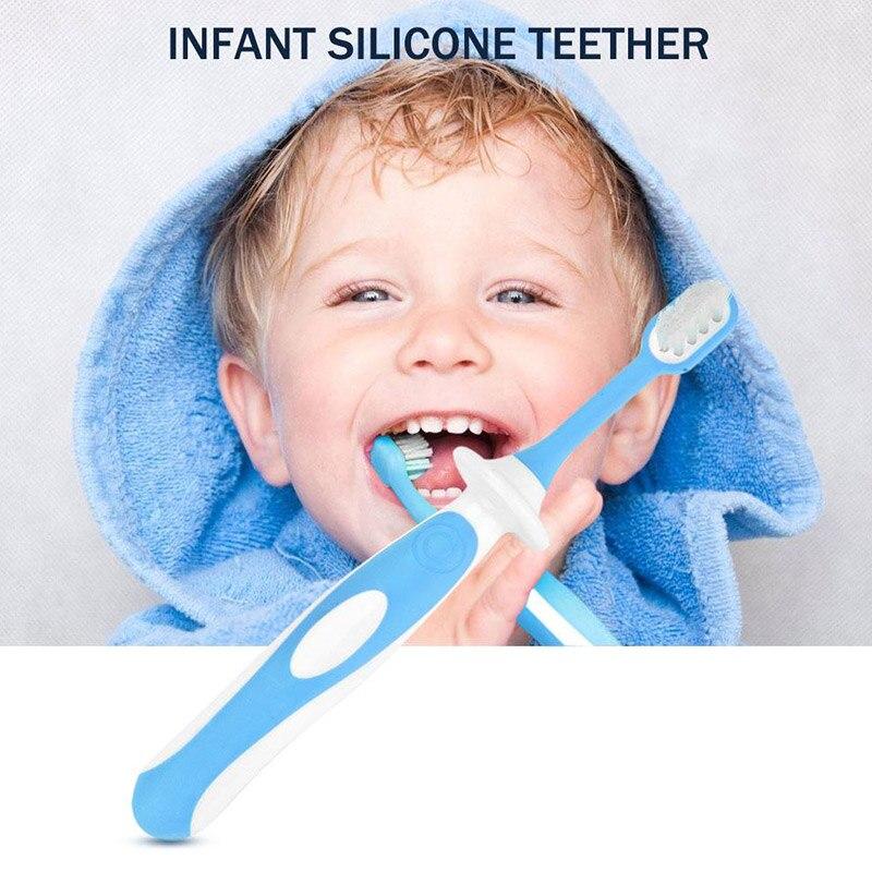 Детская зубная щетка детская учебная щетка Детская силиконовая Прорезыватель синий/розовый 3в1 привычка к еде