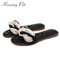 2017 Genuine Leather Round Peep Toe Women Flats Large Size Slippers Pearl Beading Sweet Preppy Style