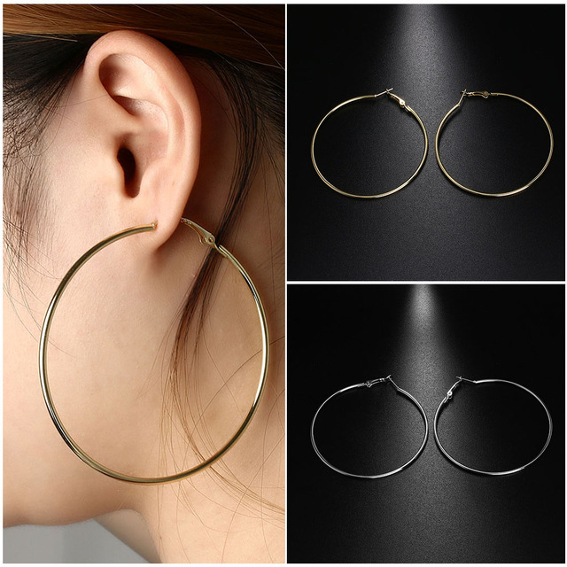 Personality Super Circles Dangle Earrings Metal Thin Hoops Silver Gold 10cm 9cm