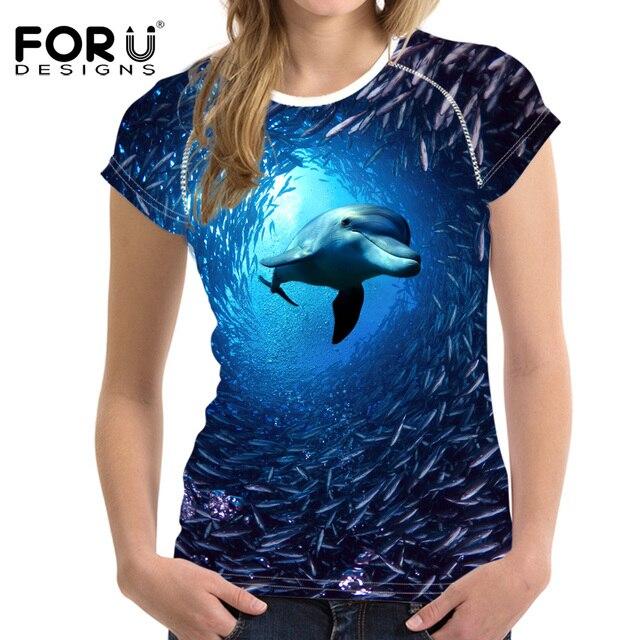 FORUDESIGNS Women's T-Shirt Cute Animal Dolphin Printed T Shirt Women Blue Clothes Tops Fashion Summer Short Sleeve Tshirt Girls