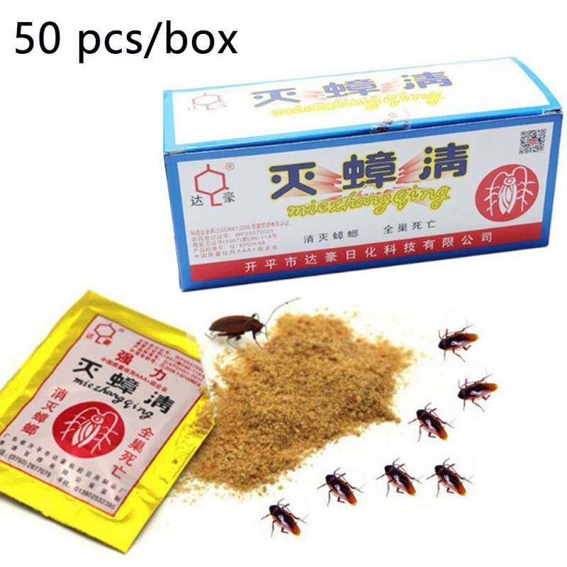 50bag Pest Control Roach Powder Moth Insecticide Poison Killing Of Cockroaches Termite Bait Kill Ants Toxic Pest Repeller