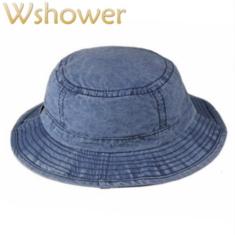 89d9937f Washed Denim Bucket Hat Hip Hop Casual Wide Brim Summer Hat For Women Solid  Men Sun Panama Large Brim Male Beach Fishing Cap