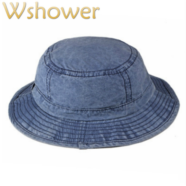 8027f95d332 Washed Denim Bucket Hat Hip Hop Casual Wide Brim Summer Hat For Women Solid  Men Sun Panama Large Brim Male Beach Fishing Cap