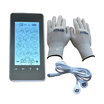 Tens Electrotherapy Massager Touch Screen Smart Massage Device Body Health Care Muscle Stimulator With Conductive Fiber Gloves