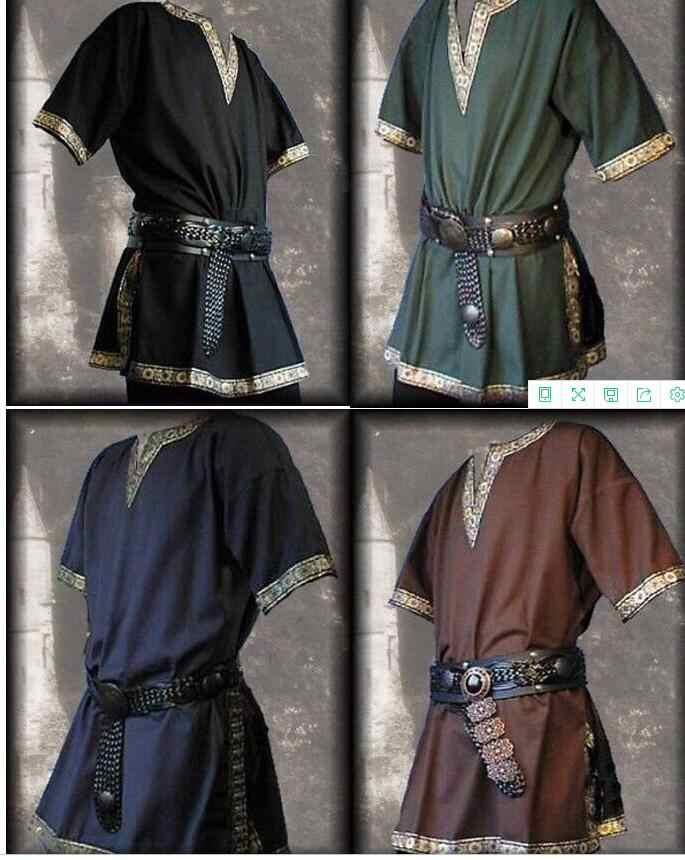 Adult Men Medieval Renaissance Grooms Pirate Reenactment Larp Costume V  neck Shirt Middle Age Viking Cosplay Top For Men