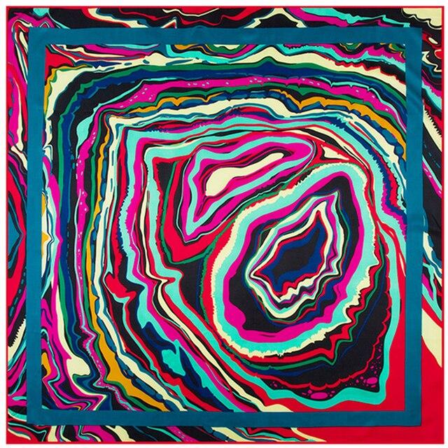 Высокое Качество Абстрактное Искусство Живопись Pattern Марка Шелковый Шарф Саржевого Квадратный Шарф Женщин Шаль Атласная Лента Платок SH15102221