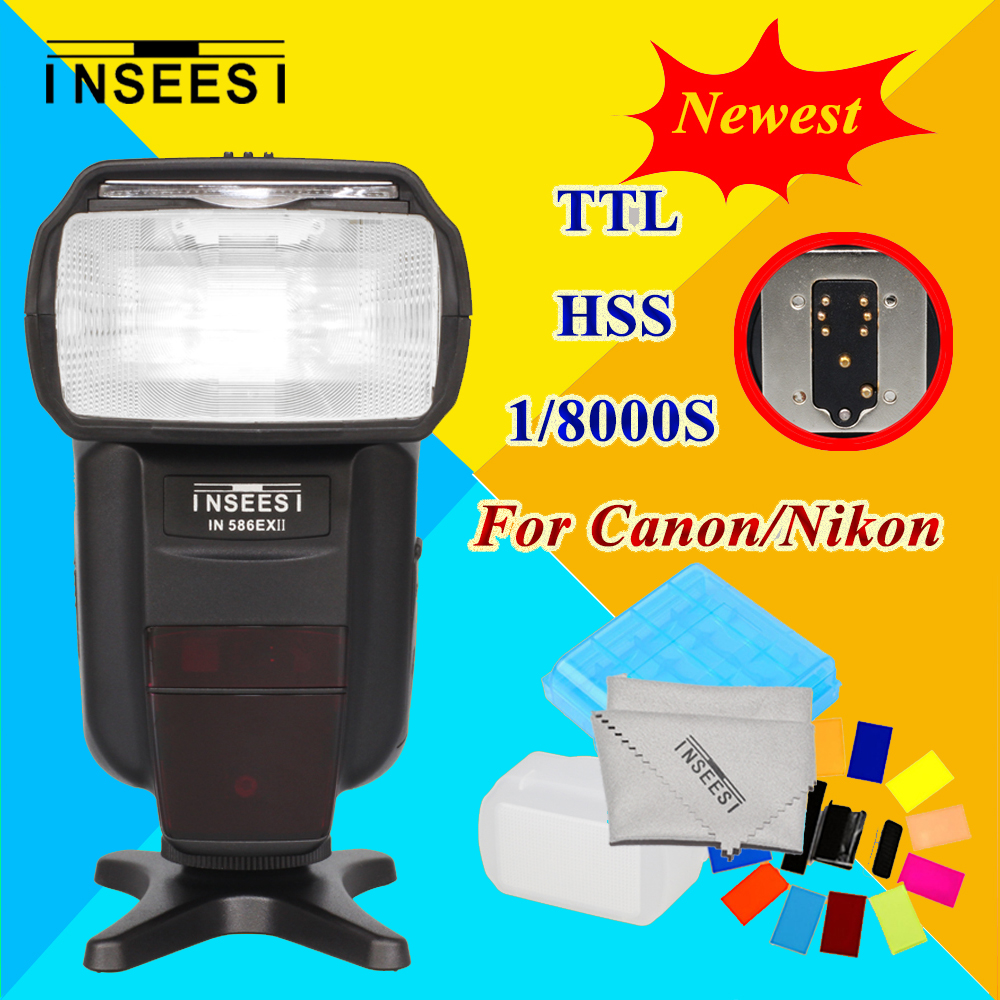 For Canon 650D Nikon D3000 D3200 D3300 D90 D300 TTL HSS 1/8000S DSLR Camera Speedlite Flash INSEESI IN586EX II VS YN568 YN565 pixle vertax d14 battery grip as mb d14 for nikon dslr d600 d610 camera