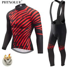 Phtxolue Winter Thermal Fleece Cycling Jersey Set Clothing Super Warm Mountain Bike Wear Racing Bicycle