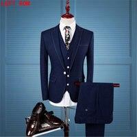 Wol Retro Grey Visgraat Tweed Britse stijl maatwerk Mens pak tailor slim fit Blazer bruiloft pakken voor mannen 3 stuk