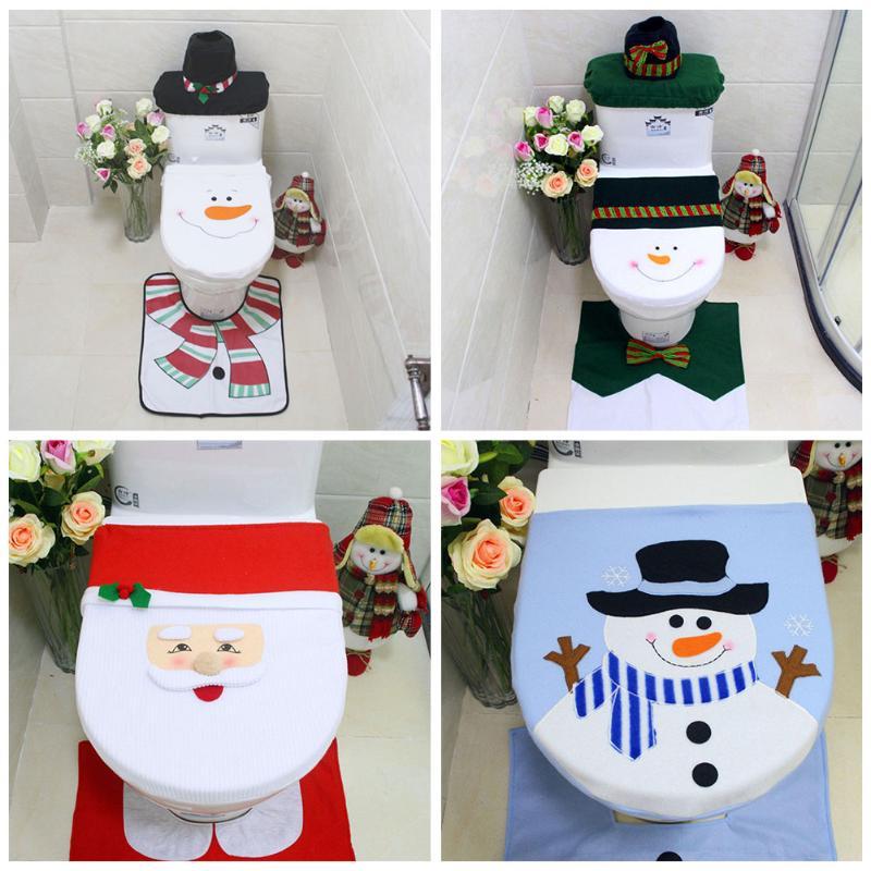 1pc 메리 크리스마스 변기 커버 눈사람 화장실 뚜껑 커버 neol 크리스마스 장식 홈 크리스마스 나탈 새해 장식