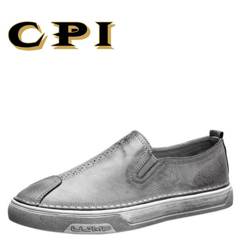 CPI New autumn British Style Men's shoes sneakers Breathable Men's casual leather shoes Comfortable Driving shoes AA-44 2017 new autumn winter british retro men shoes zipper leather breathable sneaker fashion boots men casual shoes handmade