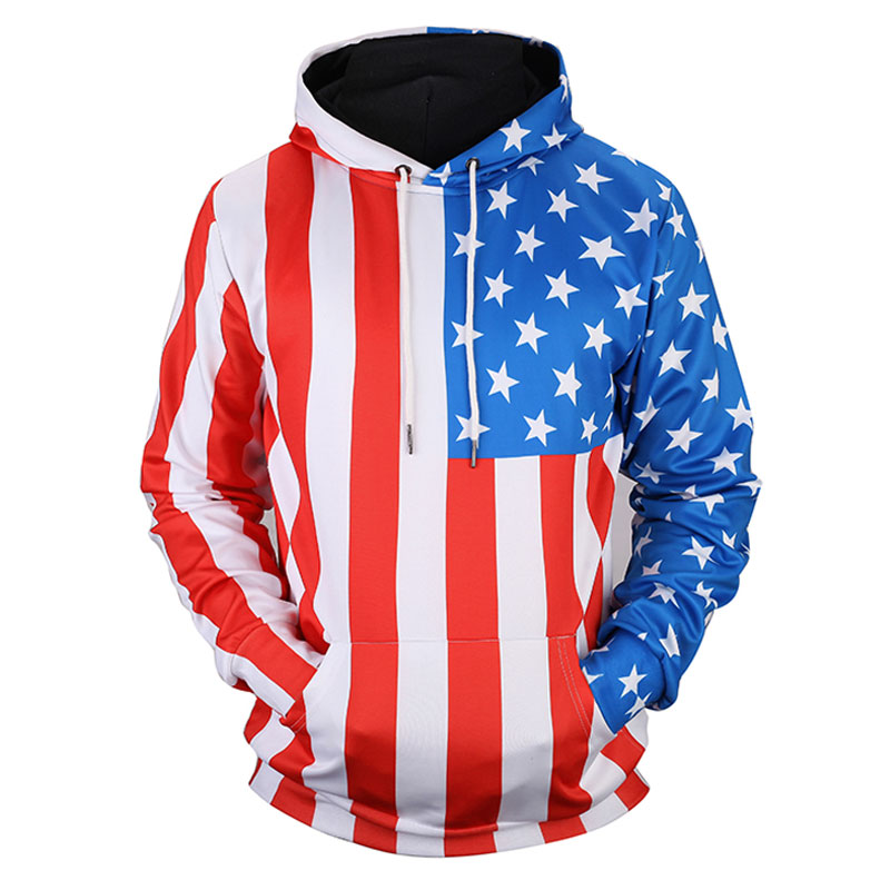 Headbook New Arrivals Women/Men Thin Sweatshirts 3d Print Stars Striped USA Flag Hooded Hoodies Unisex Pullovers 17090201