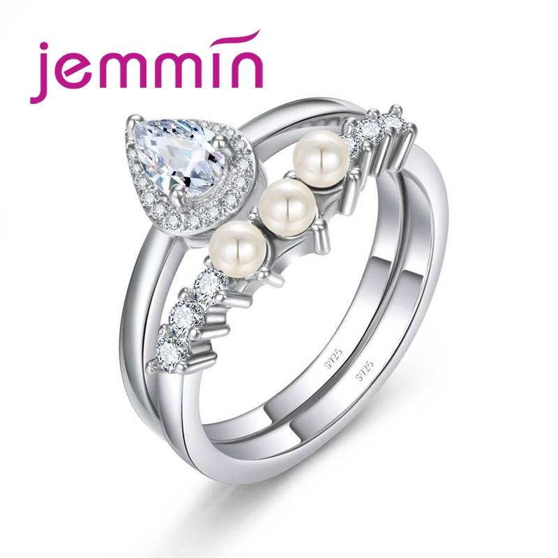 Beautiful Minimalist 925 Sterling Silver Ring Set Pave Pearls White Color Inlay  Cubic Zirconia Unique Shaped Ring